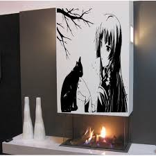 Shop Anime Decal Anime Stickers Anime Vinyl Girl And Cat Wall Art Sticker Decal Size 48x57 Color Black Overstock 13226735