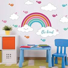 Amazon Com Kids Wall Decals Rainbow Clouds Wall Art Stickers With Be Kind Quote Inspirational Wall Decor For Playroom Bedroom Arts Crafts Sewing