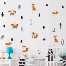 Fox In The Forest Wall Sticker Woodland Animal Wall Decal Kids Nursery Decor Ebay