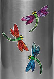 The Decal Store Com By Yadda Yadda Design Co Clr Wb Stained Glass Dragonfly D3 Vinyl Water Bottle Decal C Yydc