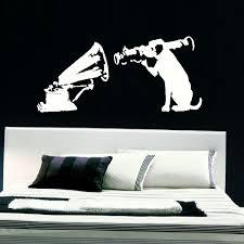 Large Banksy Dog Gramaphone Bedroom Wall Art Mural Sticker Transfer Vinyl Decal Bespoke Graphics
