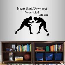 Amazon Com Wall Vinyl Decal Home Decor Art Sticker Never Back Down And Never Quit John Cena Motivational Quote Phrase Wrestling Match Sports Wrestlers Sportsman Gym Removable Stylish Mural Unique Design 2549 Home