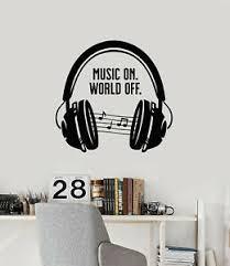 Vinyl Wall Decal Teen Music Headphones Singer Musical Notes Stickers G2333 Ebay
