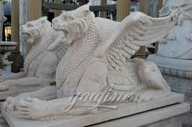 winged marble stone lion statues pair