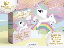 Kit Imprimible Unicornio Invitaciones I Candy Cumpleanos