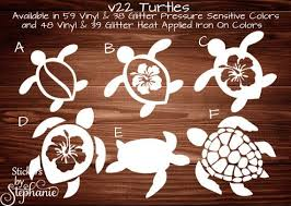 V22 Tropical Sea Turtle With Hibiscus Flower Honu Glitter Or Vinyl Wall Mural Car Window Sticker Cup Decal Diy Heat Applie Hawaiian Tattoo Turtle Turtle Tattoo