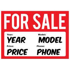 For Sale Window Stickers For Cars Auto For Sale Signs