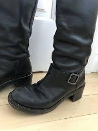black leather biker boots size 37 5