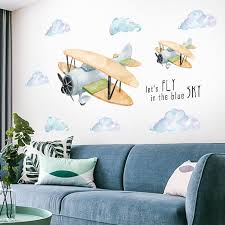 Hot Offer 6e65 Removable Cartoon Plane Wall Stickers For Kids Rooms Nursery Wall Decor Vinyl Wall Decals Sticker For Room Decoration Home Decor Cicig Co