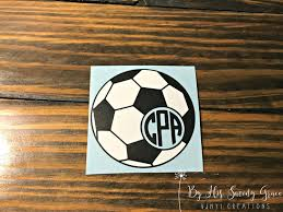Soccer Ball With Monogram Sports Car Decal Soccer Mom Etsy Soccer Ball Water Bottle Decal Soccer