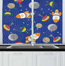 Kids Boys Curtains 2 Panels Set Outer Space Themed Moon Spaceship And Ufo Pattern On Bullseye Circles Backdrop Window Drapes For Living Room Bedroom 55w X 39l Inches Multicolor By Ambesonne