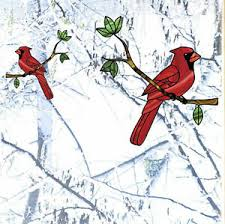 Clr Wnd Cardinal Bird Stained Glass Style Vinyl Window Decal C Yydc Choose Size Ebay