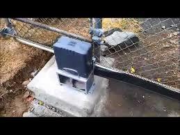 Slide Gate Opener On A Chain Link Sliding Gate Youtube