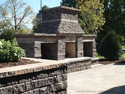 outdoor fireplace installation using