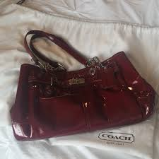 coach bags red patent leather purse
