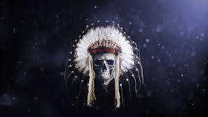 skull with feather headdress wallpaper