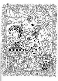 Cat Abstract Doodle Zentangle Paisley Coloring Pages Colouring