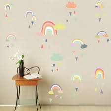 Amazon Com Iarttop Colorful Rain Rainbows Wall Decal Raindrop Wall Sticker Rainbow Wall Sticker For Kids Room Decor Diy Mural Art Home Decoration Home Kitchen