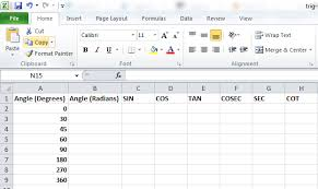trig functions in excel