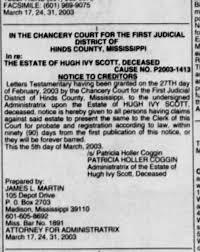 Patricia Holler Coggin executrix for Hugh Ivy Scott - Newspapers.com