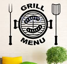 Grill Menu Wall Decal Food Restaurant Vinyl Sticker Dining Room Home Decor Ideas Room Interior Art Mural H57cm X W70cm Buy At The Price Of 12 05 In Aliexpress Com Imall Com