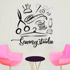 Mega Deal 0f483 Sewing Studio Wall Sticker Atelier Home Decor Vinyl Wall Decals Handmade Tailor Window Decoration Removable Stickers Muraux D609 Cicig Co