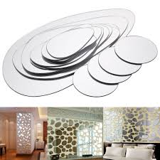 2 Sets Removable Pebble Shape Mirror Wall Sticker Home Room Art Mural Decal Diy Ebay