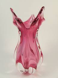 murano pink art glass vase hand blown