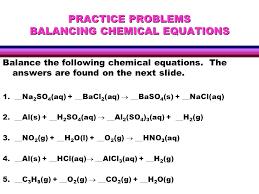 writing chemical equations reactants