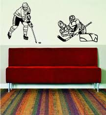 Hockey Player And Goalie Wall Decal Quote Home Room Decor Etsy