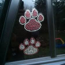Paw Print With Heart Rhinestone Car Decal Rhinestone Sticker Etsy