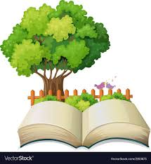 An Empty Open Book And A Tree With A Fence Vector Image