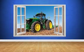 Amazon Com Thorpe Signs Tractor Farm Boys Bedroom Animals Country Window Wall Decal 3d Art Stickers Large 93cm X 58cm Home Kitchen