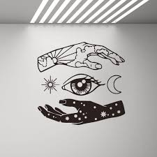 Hand Moon Sun Eye Star Wall Decal Abstract Vinyl Art Stickers Wallpaper Living Room Home Decoration Wall Sticker Bedroom G277 Leather Bag