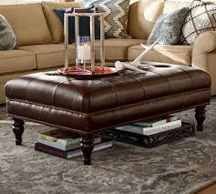 martin tufted leather ottoman pottery
