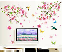 Bibitime Pink 2 Branches Cherry Blossoms Trees Wall Decals Spring Flower Floral Walls Stickers Hummingbird Butterflies Decor Vinyl Rome Home Arts Murals Diy Size 43 31 47 24 In Spring Home Decor Olivia