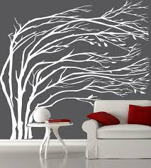 Modern White Blowing Tree Wall Decal Silhouette Tree Decals Vinyl Wall Sticker Living Room Wall Stickers Wall Stickers Living Room Tree Wall Decal Wall Design