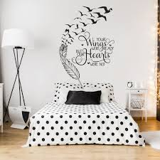 Feather Birds Inspirational Wall Decal Quote Your Wings Were Ready But Our Hearts Vinyl Wall Sticker Sayings For Home Lc1821 Wall Stickers Aliexpress