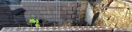a reinforced concrete block retaining wall