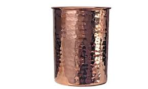 2 copper drinking glasses hammered in
