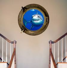 Shark Porthole Mural Decal Design Wall Decals Primedecals