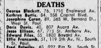 Effie Stevens Francomb, death, 1970. - Newspapers.com