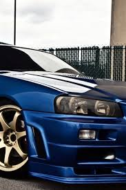 nissan skyline gtr r34 blue car side