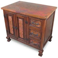 old wood and copper bath vanity