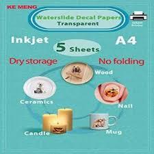 Qd3htff Ke Meng A4 Inkjet Waterslide Decal Papers Image Transfer Paper For Inkjet Printer Transparent 5 Sheets