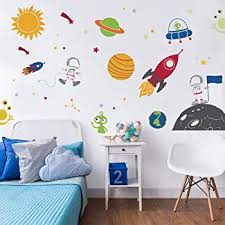Amazon Com Decalmile Outer Space Wall Decals Planets Rocket Spaceship Robot Alien And Astronaut Kids Wall Stickers Nursery Bedroom Playroom Classroom Wall Decor Baby