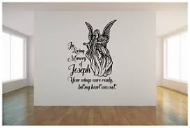 In Loving Memory Angel With Name Vinyl Wall Sticker Decal 22 X32 Colors Ebay