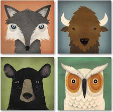 Amazon Com Adorable Fox Black Bear Owl And Bison Woodland Forrest Animals By Ryan Fowler Children S Room Decor Four 8x8in Paper Poster Prints Posters Prints