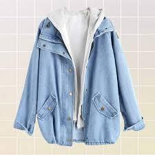 2 piece soft grunge light blue denim jacket