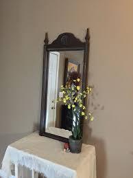 vintage wood wall mirror large